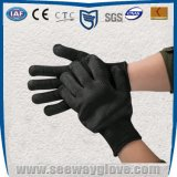 白色涤纶包钢丝防割五级手套 五级防切割手套