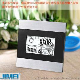 JIMEI多功能電子鐘帶背光天氣預報氣壓鍾星期及溫溼度舒服度指標