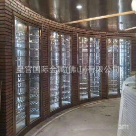 厂家直销不锈钢酒柜别墅地下室恒温酒柜玫瑰金不锈钢酒架定制