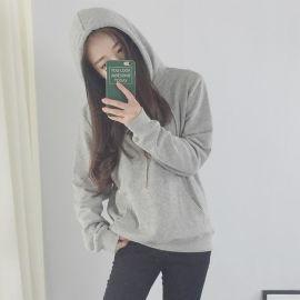 純色帶帽衛衣女寬鬆薄款套頭韓版潮學生加絨加厚秋冬季黑灰色連帽