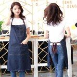 创意跨境牛仔围裙挂脖牛仔布时尚韩版成人劳保工作服定做LOGO