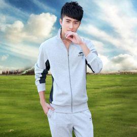 秋冬裝新款男式運動套裝純棉針織跑步運動服韓版團體定制活動衛衣