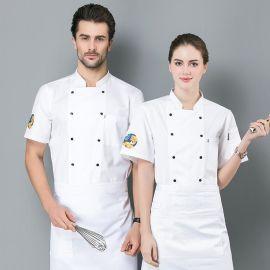 厨师工作服男女短袖薄款透气中国风夏装饭店西餐酒店厨房工作服装