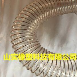 山东山实橡塑生产pu钢丝软管,pu透明软管,钢丝伸缩管耐磨损,耐老化,易于打理