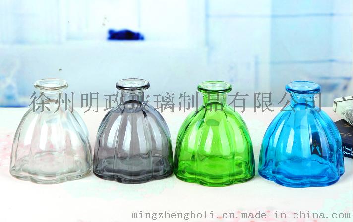 创意小口玻璃瓶精致小花瓶单只插花花器摆件透明彩色玻璃容器装饰