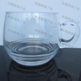 厂家直销带把透明玻璃杯螺旋条纹茶杯马克杯