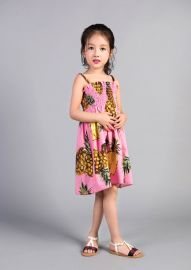 VTK2017夏季新款女童连衣裙 菠萝印花吊带连衣裙公主裙