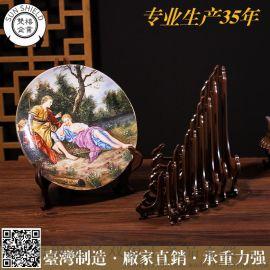 4寸台湾中日式亚克力仿木制木质盘架普洱茶饼架奖牌证书展示架钟表a4相框托架工艺品架