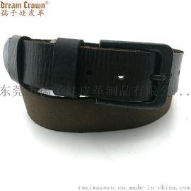 广东男款拼接枪色针扣正反面混搭头层牛皮腰带生产厂家ODM来料加工