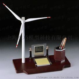 商务礼品创意笔筒万年历时钟摆件风车风力发电机摆件