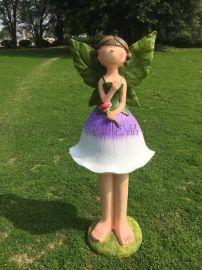 赣州园林雕塑摆件厂家 鹰潭玻璃钢卡通人物花仙子批发