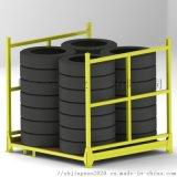 摺疊式鋼製堆垛架 輪胎貨架 鐵框 摺疊式移動貨架