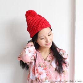 韩版潮冬季大毛线球毛线针织帽【金娟针织】