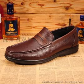 新款男士休闲鞋潮流百搭真皮休闲板鞋透气男鞋日常休闲 豆豆皮鞋