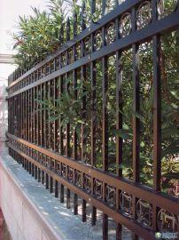 铝合金围墙栏杆,栅栏,古铜色木纹围墙栏杆
