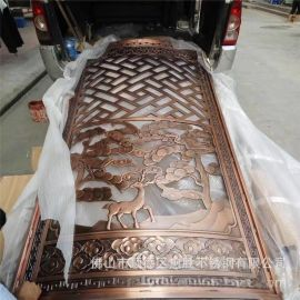 出彩工艺铝板镂空红古铜门花   弧形铝艺立体雕刻花格