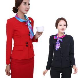 春秋职业装套装韩版时尚长袖套裙大码酒店前台接待服装