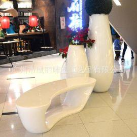 歐式現代簡約組合玻璃鋼花盆休閒椅 高檔商場專用