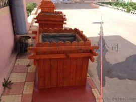 青岛碳化木花箱城阳木制花盆生产制作