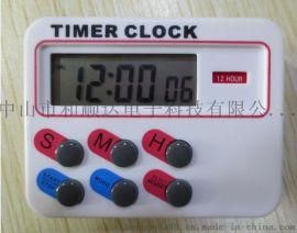 726厨房计时器 12小时计时器 带时间功能24小时计时器闹钟