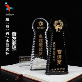 奋发图强水晶奖杯 公司企业周年庆典表彰  厂家现货