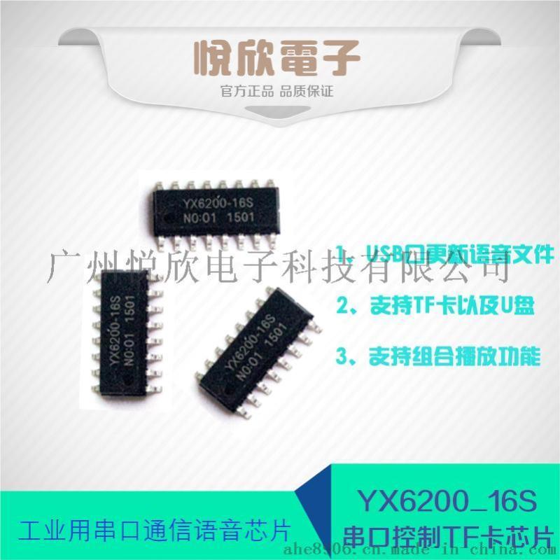 广东语音芯片厂家供应串口语音IC YX6200-16S