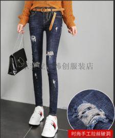 低价牛仔裤 杭州牛仔裤厂家时尚小脚裤铅笔裤地摊货源