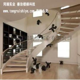 别墅旋转楼梯定制|别墅弧形楼梯定制厂家