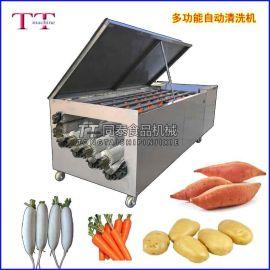 自动洗白萝卜机,萝卜清洗机,连续式红薯去泥清洗机