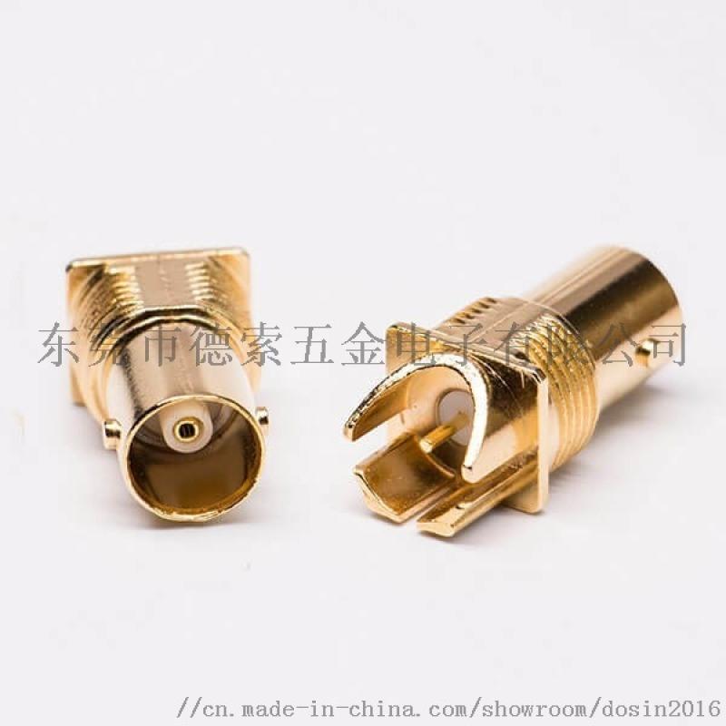 镀金BNC板端高清母头 75Ω卡板BNC射频连接器