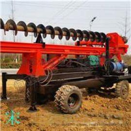 车载式打桩机 四轮螺旋钻机轮式长螺旋打桩机