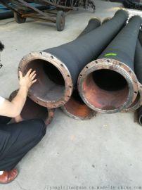 法兰式大口径橡胶钢丝管DN300黑橡胶钢丝管
