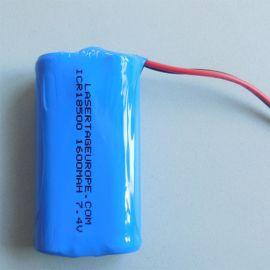厂家定制ICR18500**电池组 智能手持机器电池1600mah 7.4V电池组
