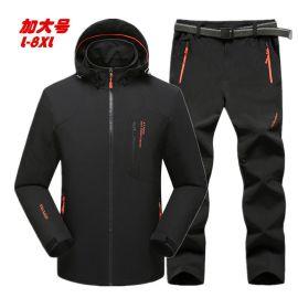 大码冲锋衣男春秋薄款加肥加大钓鱼服套装户外登山外套衣裤两件套
