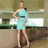 蓝色短款礼服 单肩个性礼服裙(分码)