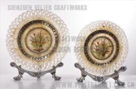 欧式家居饰品软装摆件透明树脂银玫瑰花装饰盘摆设