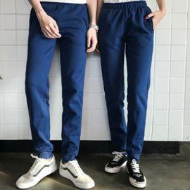 秋冬加絨運動褲男女款長褲厚款直筒學生藍色衛褲大碼寬鬆休閒褲子
