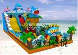 海底世界儿童充气滑梯大鲨鱼攀岩城堡款式