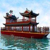 內蒙古廣西吉林觀光畫舫木船 景區雙層餐飲船 帶亭子水上餐廳旅遊船 電動觀光船景區雙層畫舫船