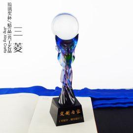 琉璃三菱獎杯 公司單位員工貢獻嘉獎杯禮品定制