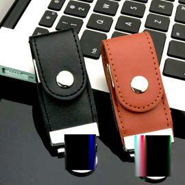 鑰匙扣皮套U盤8g USB3.0高速定制刻字優盤個性皮質金屬創意8gu盤