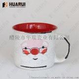 复古仿搪瓷马克杯圣诞节广告杯礼品促销陶瓷杯赠品