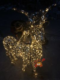 园林景观发光不锈钢镂空   雕塑 创意鹿雕塑定做
