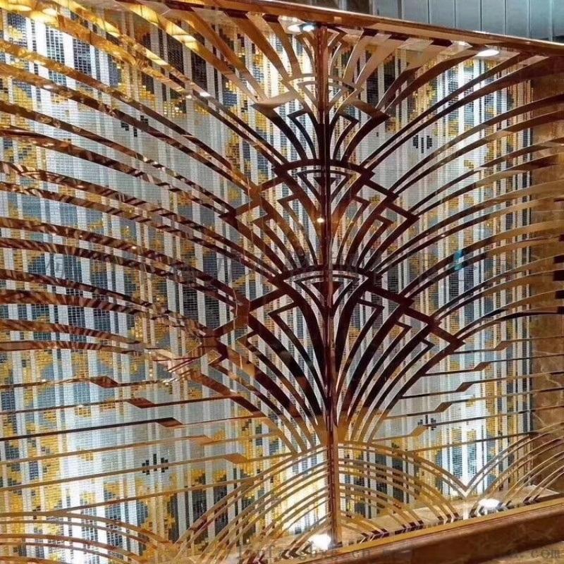 办公室不锈钢古典屏风 酒店玫瑰金隔断花格定做