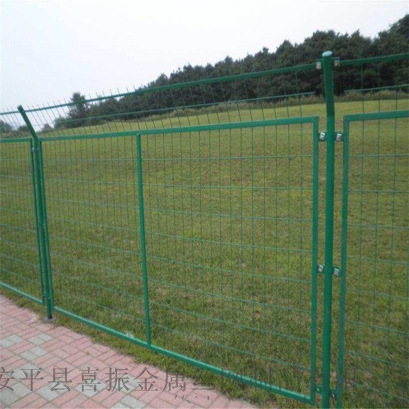 绿色铁丝护栏网,道路护栏供应,果园铁丝护栏网