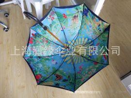 热转印直杆晴雨伞、数码印长柄广告伞logo丝印
