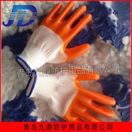 厂家批发半挂全挂彩纱止滑磨砂红耐油耐酸碱PVC浸胶劳保手套批发