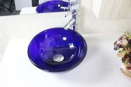 紫色钢化玻璃洗手盆 台上盆 艺术盆 手绘盆 面盆 特价促销 N-104