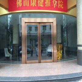 广州不锈钢地弹门,拉丝玫瑰金地弹门