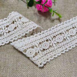5厘米宽棉线刺绣花边 新款双边本白色棉花边辅料